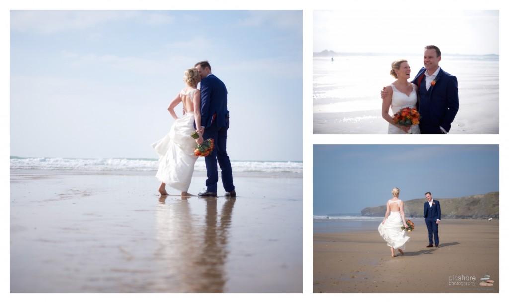 cornwall beach watergate bay wedding photographer